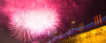 Firework over moscow russia near the kremlin Stock Photo