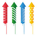 Firework rockets of different colors on white background Royalty Free Stock Images