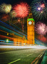 Firework show over Big Ben at night, London Royalty Free Stock Photo