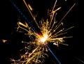 Firework sparkler burning on black background, congratulation greeting  party happy new year,  christmas celebration Royalty Free Stock Photo