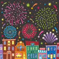 Fireworks above cartoon city no transparency and gradients used Stock Image