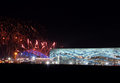 Fireworks above olympic park sochi russia february at xxii winter games closing ceremony Stock Photo