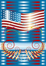 Fireworks  with American flag . Placard. Backgroun Royalty Free Stock Image