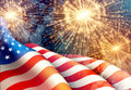 Fireworks background for 4th of July Independense Day with american flag. Vector illustration Royalty Free Stock Photo