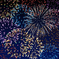 Fireworks background wth colorful Royalty Free Stock Images
