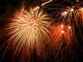 Fireworks beautiful colorful on a black sky Stock Photos