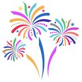 Fireworks beautiful colorful vector firework isolated on white background Stock Images