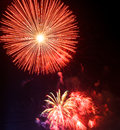 Fireworks beautiful on the sky sunset holyday Royalty Free Stock Image