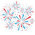 Fireworks big red and blue on white background eps Stock Image