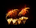 Fireworks bright colourful at night Royalty Free Stock Images