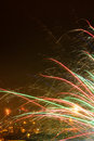 Fireworks bright light trails from Royalty Free Stock Image