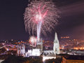 Fireworks in the cathedral of burgo burgos spain Royalty Free Stock Photo