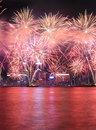 Fireworks celebrating the chinese new year in Hong Kong. Royalty Free Stock Photo