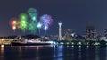 Fireworks celebrating over  marina bay in Yokohama City Royalty Free Stock Photo