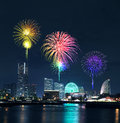 Fireworks celebrating over  marina bay in Yokohama, Japan Royalty Free Stock Photo