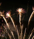 Fireworks celebration over stadium independence day july forth a simple display of a baseball Royalty Free Stock Photos
