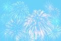 Fireworks celebration on pastel cyan color background.