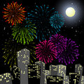 Fireworks in the centre of the city Royalty Free Stock Photography