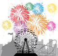 Fireworks, city and amusement park Royalty Free Stock Photography