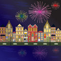 Fireworks Cityscape with water reflection Royalty Free Stock Images