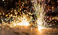 Fireworks of CNC LPG gas cutting Royalty Free Stock Images