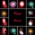 Fireworks collage for celebration of festival Diw Royalty Free Stock Photo