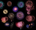 Fireworks collage of many exposures in a black background Royalty Free Stock Photos