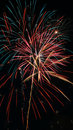 Fireworks colorful red blue and golden yellow white green explode against an ink black night sky Stock Photography
