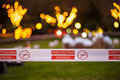 Fireworks danger area restriction banner Royalty Free Stock Photo