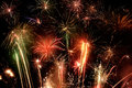 Fireworks display great colorful at night Royalty Free Stock Image