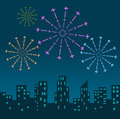Fireworks display over the night city vector illustrated background Stock Photo