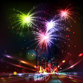 Fireworks display over the night city vector illustrated background blurred defocused lights of heavy traffic on a wet rainy Stock Images