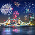 Fireworks display over the Tower Bridge in London UK Royalty Free Stock Photo