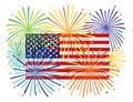 Fireworks over USA American Flag vector Illustration Royalty Free Stock Photo