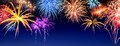 Fireworks display panorama Royalty Free Stock Photo
