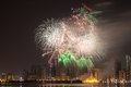 Fireworks display in sharjah city united arab emirates Royalty Free Stock Photos
