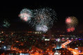 Fireworks in ekaterinburg russia view of night during from a skyscraper Stock Images