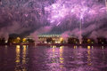 Fireworks on the embankment of the moskva river near luzhniki stadium russia Royalty Free Stock Photos