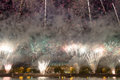 Fireworks on the embankment of the moskva river near luzhniki stadium russia Stock Image