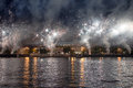 Fireworks on the embankment of the moskva river near luzhniki stadium russia Stock Images