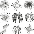 Fireworks, explosion, template, collection Royalty Free Stock Photo