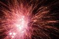 Fireworks explosions red in the night sky Stock Photography