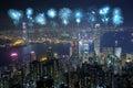 Fireworks Festival over Hong Kong city at night Royalty Free Stock Photo