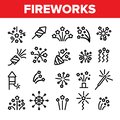 Fireworks, Firecrackers Thin Line Icons Vector Set