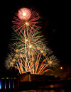 Fireworks on the fourth huge display in sky of july Royalty Free Stock Photo