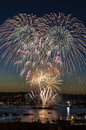 Fireworks on fourth of July in Seattle Washington Royalty Free Stock Image