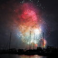 Fireworks fulminant over harbor colorful display of the with boats anchoring nye in sydney australia Stock Photography