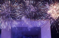 Fireworks at grand arch la defence france Royalty Free Stock Images