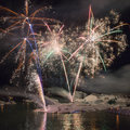 Fireworks at icelake Jokulsarlon Stock Photography