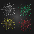 Fireworks isolated on a dark background, 4 different colors - white, green, yellow, red Royalty Free Stock Photo